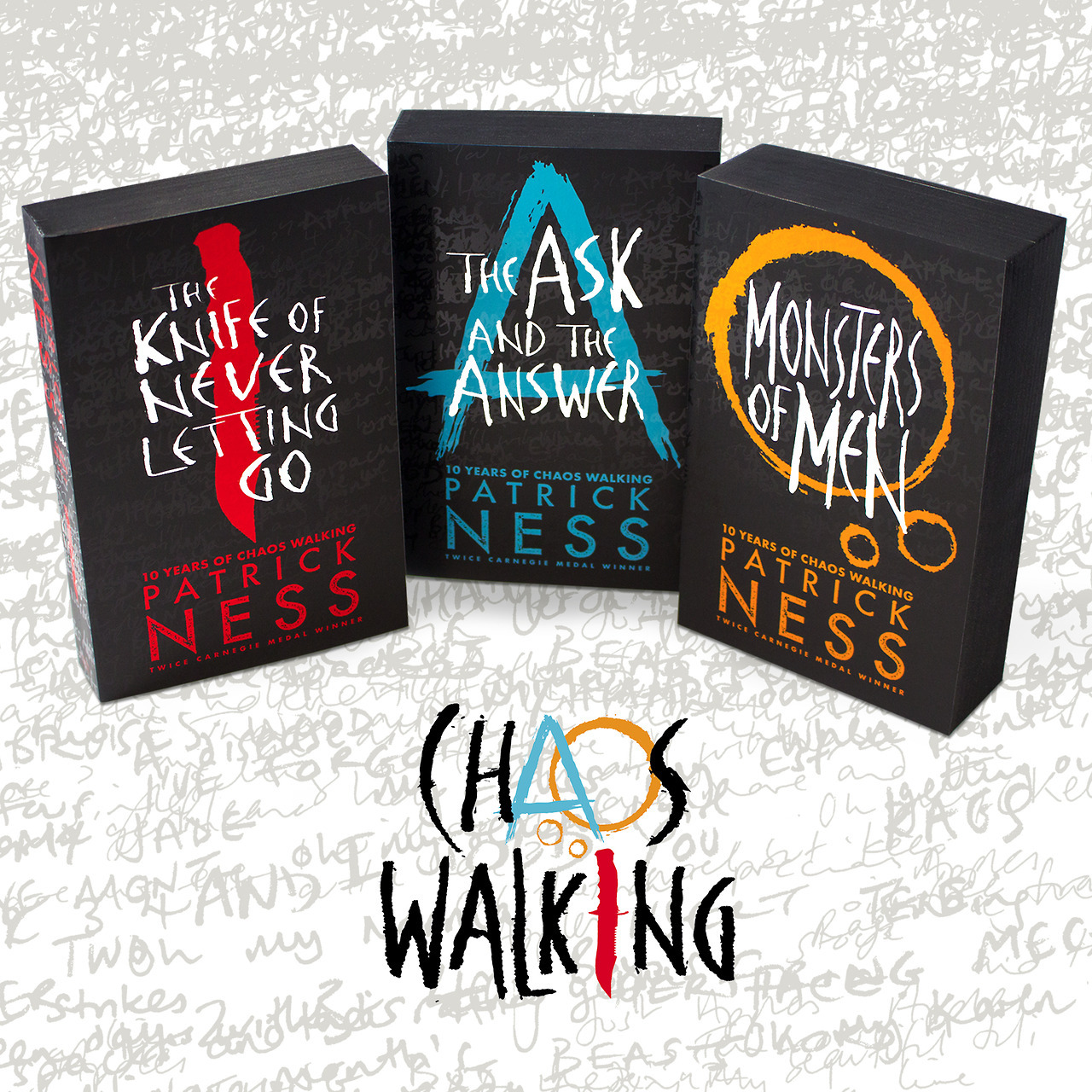 The Knife of Never Letting Go is the first book in Patrick Ness' Chaos Walking Trilogy.  Ness also wrote A Monster Calls.