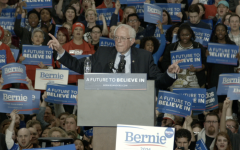 Sen. Bernie Sanders speaks at a rally held in the Argo Field House during his 2016 campaign.