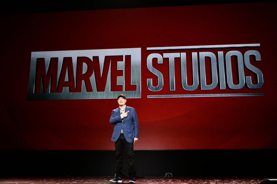 Marvel+Studios+President+Kevin+Feige+takes+the+stage+to+announce+details+to+Phase+4+of+the+MCU.+Photo+courtesy+of+D23.